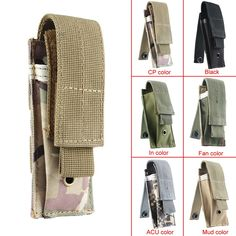 Small Military Tactical MOLLE Single Cartridge Clip Bag Pistol Magazine Pouch Flashlight Sheath Airsoft Hunting Ammo Molle Pouch #men, #hats, #watches, #belts, #fashion