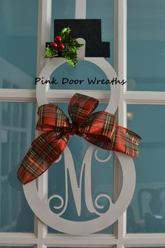 Made to Order - Wreath MONOGRAM DOOR HANGER Snowman Christmas Scroll Vine initial white sparkle sparkly red single letter decor decoration by PinkDoorWreaths