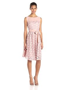 Julian Taylor Womens Sparkle Lace Illusion Fit and Flare Dress with Tie Mauve 10 * For more information, visit image link.