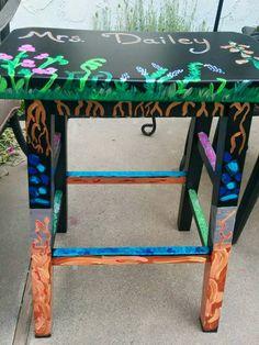 teacher's stool painted by Mary Dailey
