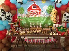 The Farm Birthday Party Ideas Mcdonalds Birthday Party, Baby Boy 1st Birthday Party, Cowboy Birthday Party, 2nd Birthday Party Themes, Farm Animal Birthday, Farm Birthday, Birthday Party Decorations, Birthday Recipes, Farm Themed Party