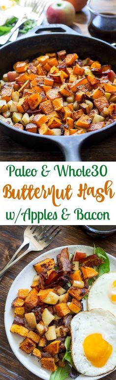 Paleo and Whole30 roasted butternut squash hash with apples, bacon, and caramelized onion. Simple, delicious, healthy and great for breakfast with eggs or as a side dish for any meal!