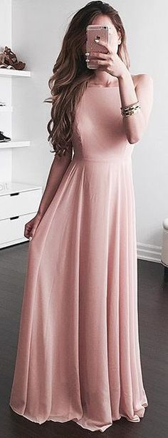 2017 Simple Pink A-line Prom Dresses Chiffon Long Evening Gowns