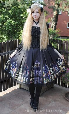 zombieswhatever. Stain glass window Lolita dress.