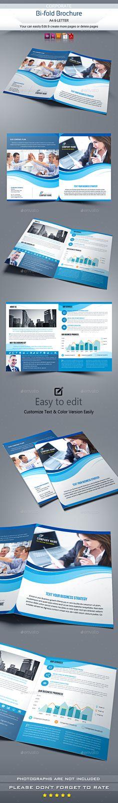 Company Bi-Fold Brochure Template Vector EPS, InDesign INDD, AI Illustrator