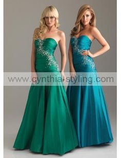 elegant emerald green sky blue ruched beaded sweetheart neckline A-line satin prom evening dress P12012_ - Cynthia Prom Gown Online Shop