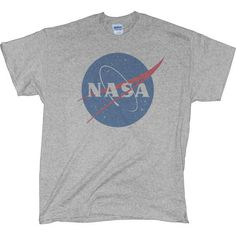 NASA Shirt (2.540 ISK) ❤ liked on Polyvore featuring tops, t-shirts, shirts, t shirts, vintage tee-shirt, gray shirt, vintage sports t shirts, tee-shirt and vintage shirts