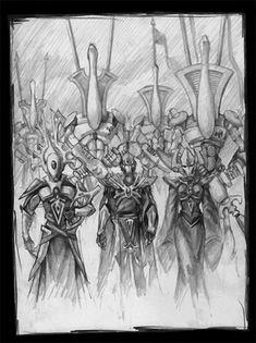 Being uploaded tomorrow to Immortal Enemies, this is, surprisingly, the second page on which Seer Brun of the Eldar appears. Enter the Eldar Warhammer Eldar, Warhammer 40k Memes, Dark Eldar, Fantasy Art Landscapes, Wood Elf, High Elf, Fantasy Miniatures, Elves, My Drawings