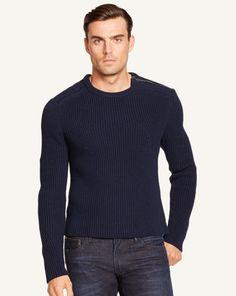 Shoulder-Zip Sweater - Black Label Crewneck - RalphLauren.com