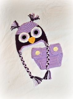 Crochet Baby Owl Hat and Diaper Cover Set by littlebuttercupbaby