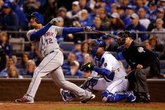 WORLD SERIES GAME 2 - Juan Lagares of the New York Mets flies out in the third inning against the Kansas City Royals during Game 2 of the World Series at Kauffman Stadium on Oct. 28, 2015. (Photo by Christian Petersen/Getty Images)