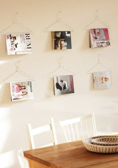 Use hangers for magazine storage. Doubles as wall decor!