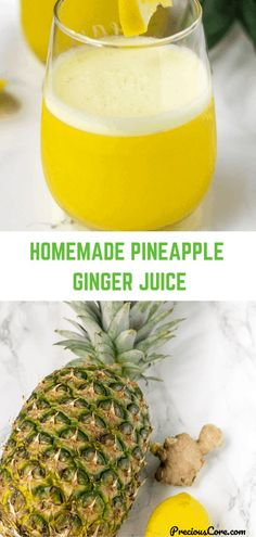 Pineapple Ginger Juice! This juice, loaded with tropical flavors is so refreshing and loaded with nutrients. Also, no added sugar! Enjoy! Alcoholic Drinks With Pineapple Juice, Pinapple Juice, Juice Drinks, Juice Smoothie, Detox Drinks, Recipe With Pineapple Juice, Lemon Ginger Juice Recipe, Healthy Juice Recipes, Layer Cakes