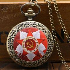 The Soviet Union Flag Theme Pocket Watch Bronze Quartz Pendant Necklace Fob Watch For Gift Soviet Union Flag, Bronze, New Year Gifts, Stainless Steel Case, Pocket Watch, Quartz, Pendant Necklace, Watches, Zinedine Zidane