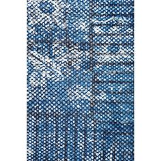 45988 6.0 x 9.0 - Mohr & McPherson 6.0 x 9.0 blue cotton dhurrie with abstract print block batik design.