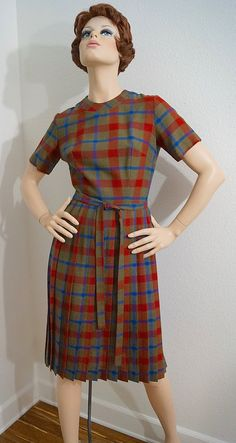 LAST CALL Vintage 50s 60s Plaid Dress / 1950s 1960s Olive and Red Plaid Dress / 50s 60s Prissy Plaid Belted Sheath Dress with Pleated Skirt