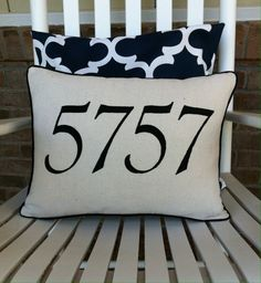Address Pillow, House Number Pillow, Zip Code Pillow, Pillow Cover with Piping, Decorative Pillow Throw Pillow Front Porch Chairs, Pillow Inserts, Pillow Covers, Free Studio, Craft Night, House Numbers, Canvas Fabric, Cottage Style, Zip Code