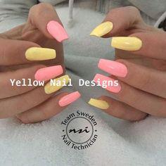 23 Great Yellow Nail Art Designs 2019 #nailideas Acrylic Nails Coffin Short, Simple Acrylic Nails, Summer Acrylic Nails, Best Acrylic Nails, Acrylic Nail Designs, Coffin Nails, Acrylic Nails Yellow, Summer Nails, Nail Ideas For Summer