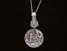 Sterling silver Aesop fox crow story pendant medal pendant
