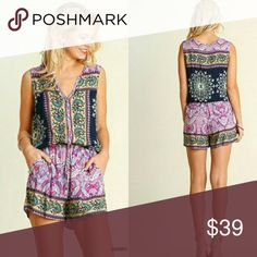 Berry and navy boho romper Umgee berry and navy rayon romper. Small (0-4), Medium (6-8), Large (10-12). Umgee Dresses