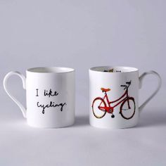 Alice Shields  I Like Cycling Bone China Mug: These bone china mugs are made by Alice Shields  All mugs are made in Stoke on Trent with her own illustrated transfer decal individually applied to each mug from Alice's studio in Bristol.  Each mug is individually bubble wrapped and comes safely packaged in a recycled cardboard box.