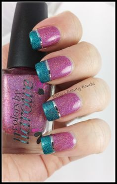 Great colors together - Llarowe-Pink-Oops & Llarowe Oops Teal - divided with a silver strip.