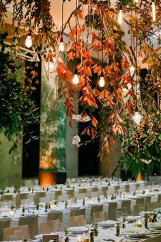 Fabulous Fall Wedding ~ colorful branches, geometric shapes and edison lightbulbs hung from the ceiling