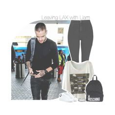 """► Leaving LAX with Liam ◄"" by antisocialmuke ❤ liked on Polyvore featuring Payne, Topshop, adidas, Moschino, women's clothing, women, female, woman, misses and juniors"