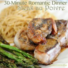 A Romantic Dinner in 30 Minutes ~ Steak au Poivre, Gruyère Noodles and Asparagus Spears