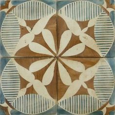 Tabarka - Touarge 1 - Mediterranean style, hand-crafted terra cotta tile in mocka and royal blue on off white. Can be used as wall or floor ...