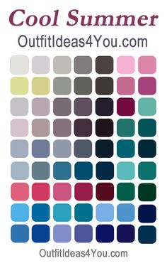 Cool summer color palette. Not sure what your perfect colors are? Get your FREE personal seasonal color analysis at http://OutfitIdeas4You.com