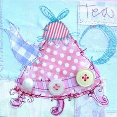 Heart Handmade UK: TIme For Tea | Fabulous Collage from British Mixed Media Artist Priscilla Jones