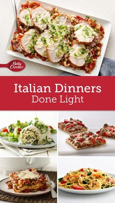 You can have your pasta and eat it too – thanks to these zesty Italian recipes under 475 calories. From pasta to pizza, you can have your Italian favorites without going overboard on your calorie count! Skinny Recipes, Healthy Recipes, Healthy Foods, Italian Dinner Recipes, Italian Dinners, Healthy Sides, Healthy Options, Weight Watchers Meals, Meals For The Week
