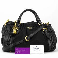 #Prada Gaufre (BN1791) Black Colour Nylon With Leather Gold Hardware Good Condition Ref.code-(GTSE-1)
