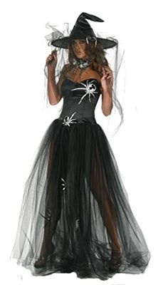 Nom de Plume Inc Sexy Witch Spider Gown Costume With Hat XLarge Black -- Click image to review more details.