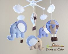 Baby Mobile - Baby Crib Mobile - Hot Air Balloons and Elephants Mobile Up in the Air (You Can Pick your Colors and Animals) via Etsy