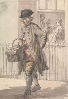 Paul Sandby, 1731-1809, British, London Cries: A Muffin Man, ca. 1759, Watercolor, pen and brown ink and graphite on medium, cream, slightly...