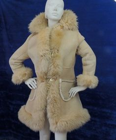 70s SHEEPSKIN COAT / Shaggy Shearling Fur & Soft Suede Jacket with ...