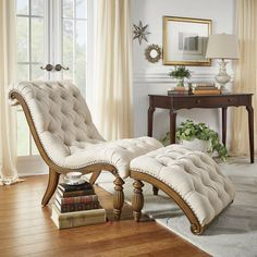 Lark Manor Celya Chaise Lounge and Ottoman Set Upholstery: Beige Living Room Furniture, Home Furniture, Living Room Decor, Furniture Design, Bedroom Decor, Modern Furniture, Furniture Online, Antique Furniture, Tufted Chaise Lounge