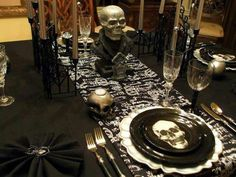 Halloween tablescape,Melinda you need this one girl! You throw the best Halloween parties.