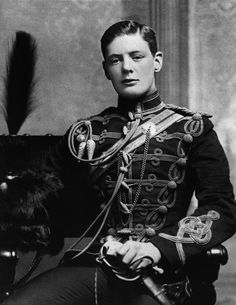 Winston Churchill in the military uniform of the 4th Queen's Own Hussars; 1895, aged 19.