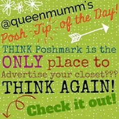 """POSH Q-TIP Give your POSH Closet FREE Advertising! With a few simple clicks, your Posh Closet can be advertised to a variety of social media sites to help bring in followers, potential customers....even SALES!!  FREE advertising!  I'm excited already!  Just check out comment #1 below for a step by step on making the most of your Poshmark affiliation.  And for more """"POSH Tips of the DAY"""", please check out my closet.  I'm always happy to share the best ways to help you shortcut to Posh…"""