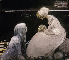 "Melusina Mermaid: ""Scandinavian Ballad Stories: Agnes & the Merman"", Adam Oehlenschläger; ""Agneta & the Sea King"", John Bauer"