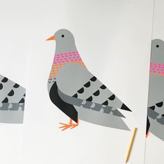 Prepping these newbie big birds off to new homes for Christmas ✏️✨. Btw, our last day for posting orders is this Friday 18th for guarantee xmas delivery for parts of Europe & UK. Mon 21st midday is absolute final post for UK only xmas delivery ;) #scoutpigeontravels #limitededition #supersizepigeon #edition3 #scoutpigeon #scouteditions #illustration #fluro #new #pattern #birdseries #screenprint #vsco #vscocam #vscolondon