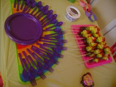 Rainbows on a stick! These were a big hit and I had none left! Turns out people like healthy options at birthday parties!