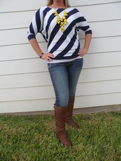 The Texas Cowgirl - Navy and White Stripe Three Quarter Sleeve Blouse Top, $21.95 (http://www.thetexascowgirl.com/navy-and-white-stripe-three-quarter-sleeve-blouse-top/)