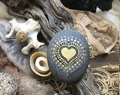 Gold Heart Mandala Stone