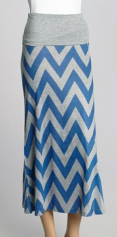 Turquoise & Gray Maxi Skirt - I don't usually like the chevron pattern, but the colors on this are pretty.