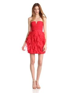BCBGMAXAZRIA Womens Cicilly Strapless Dress, Lipstick Red, 2.  check discount today! click picture on top