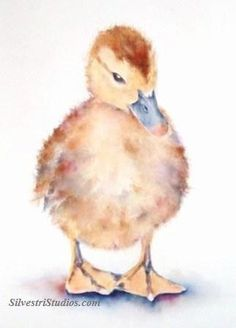 """""""Debutante Duckling"""", watercolor baby duck painting by animal artist Teresa Silvestri.  Original sold, but fine art prints & cards available.  Photo reference thanks to Julie Bird."""